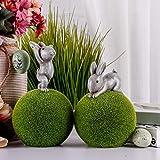 Valery Madelyn Set di 2 Coniglietto di Pasqua in Poliresina con Muschio 20/24,5cm Decorazione di Pasqua Figurina e Statuetta di Conigli Pasquali Decorazione di Primaverile per Pasqua Casa Giardino