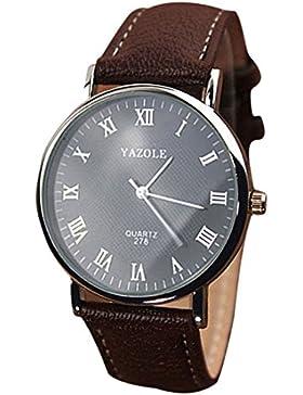 Mens-Quarz-analoge Uhren - YAZOLE Herren Armbanduhr Luxusmode Kunstleder Mens-Quarz-analoge Uhren, Braun Schwarz