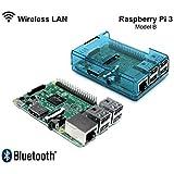 RASPBERRY Pi 3 - 1,2 GHz Quad Core 64Bit 1GB RAM (2016 Modèle) avec Etui - Boîtier Bleu