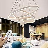 Moderna lampada a sospensione a LED, 3 anelli collezione di vernice bianca, applique a sospensione a luce regolabile Lampadario a soffitto moderno, dimmerabile 2700K - 6500K, con telecomando - 96W