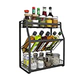 LXLA- 304 Edelstahl Küchenregal Haushalts Countertop Gewürzregal 3-Tier Condiment Storage Shelf Zurück (größe : 35×18×40cm)