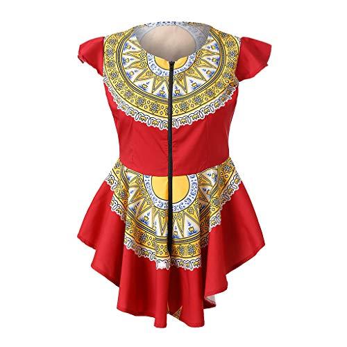 Qingsiy Camisolas Playa Mujer Tallas Grandes 2019 Mujeres Zipper de Verano Impresión Africana Túnica sin Mangas Camiseta Tops Blusa Blusas Chaleco Tops De Fiesta Playa para Mujer(Rojo,XL)