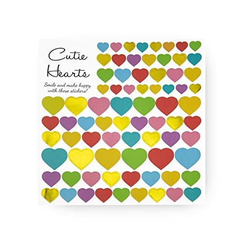 Oblique Unique® Herz Stern Sticker Set Aufkleber Bunt Pink Gold Silber Selbstklebend Scrapbooking Verzieren Basteln Spielen - Set wählbar (Herzen Bunt) - Gold Glitter Scrapbooking