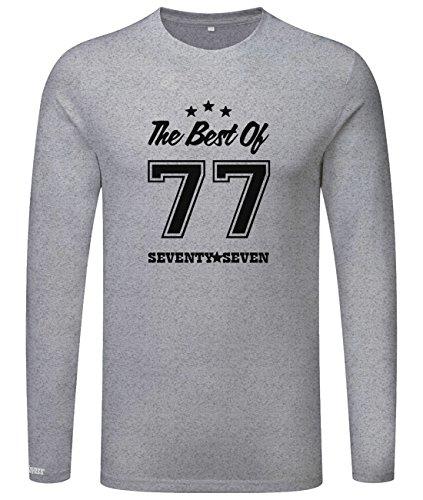 The best of 77 - Geburstag - Seventy Seven - Herren Langarmshirt Grau Meliert