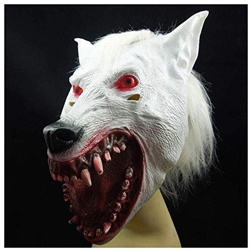 YaPin Halloween Adult Horror White Wolf Kopf Maske Geister Kinder Requisiten Lustige Ball Latex Tierkopfbedeckungen