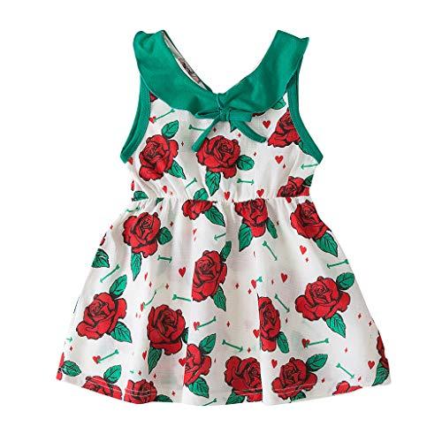 Lazzboy Baby Kinder Mädchen Kleinkind Drucken ärmellose Blume Party Prinzessin Kleider Kleidung Sommer ärmellos Kleid Baumwolle Bunt Print Stickerei Freizeitkleidung(Grün,Höhe120)