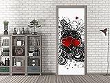 graz-design Tür-Tapete Ornament mit Herze | Aufkleber fürs Wohnzimmer | Tür - Klebefolie selbstklebend (80x205cm//Cuttermesser)