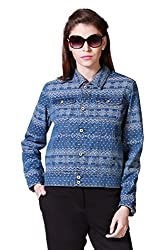 Allen Solly Womens Cotton Jacket (AWJK316C05750_Medium Blue Solid_S)