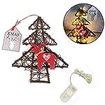 Househome Corona di Natale, Porta Ghirlanda Natale Albero, Ghirlanda di rattan bricolage luci della lampada lampada di porta di Natale decorazione da parete con 20Perle LED