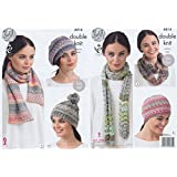 King Cole Ladies Double Knitting Pattern Womens Accessories - Hat Scarves & Snood Drifter DK (4414)