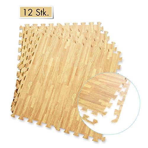 COSTWAY Schutzmatte 12 Stück, Bodenschutzmatte je 60x60x1,2cm, Puzzlematte aus Eva, Matte für Bodenschutz, Unterlegmatte Fitnessmatte Gymnastikmatte inkl. Randstück (Holzoptik)