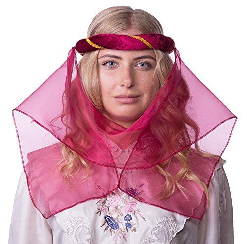 Mittelalter Haarband Helena für Damen Burgunderrot Gold