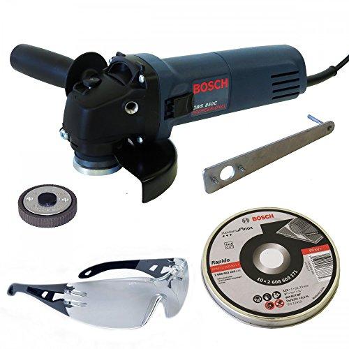 Preisvergleich Produktbild Bosch Winkelschleifer 125mm GWS 850C + Bosch Schnellspannmutter SDS-Clic M14 + Bosch Schutzbrille GO 2C + 10x Trennscheibe for INOX