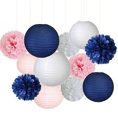12gemischte Navy Blau Pink Weiß Seidenpapier Blume Aufhängen Papier Laterne Ball Hochzeit Pompon Girlande Nautisches Geburtstag Baby Dusche Dekoration