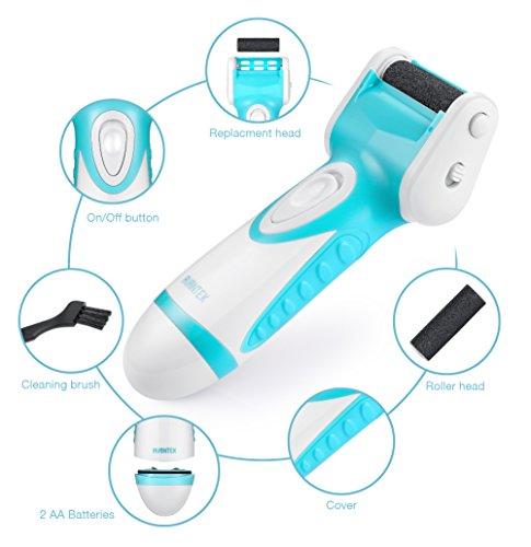 AVANTEK Aparato de Pedicura Eléctrico Elimina las Callosidades Resistente al Agua y Rodillos de Recambio Batería con 2 AA (Incluido), Azul