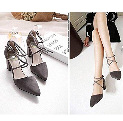 SHUNLIU Damen Pumps Sandalen Damen High Heels Bequeme Spangen Pumps Riemchen Elegant Schuhe Knöchel Nubuk Sandalen Mit Blockabsatz Grau