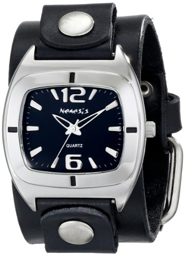 Nemesis Men's GB090K Retro Collection Black on Black Leather Band Watch