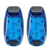 Tiaobug 2x LED Licht Sicherheitslicht fürs Laufen - LED Licht mit Klett Armband und Schraubendreher fürs Fahrrad, 3 Blink Modi, Batterien insklusive Blau One Size