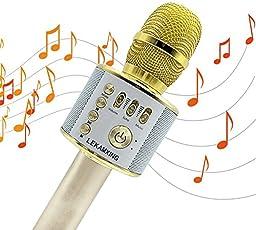 Bluetooth Karaoke Mikrofon ,Portable Handmikrofon Lautsprecher Player Kabellos Mikrofon - Stereo Player für Musik spielen KTV,Party , als Lautsprecher für PC, Laptop, iPhone, iPod, iPad, und Android/IOS oder Alle Smartphone