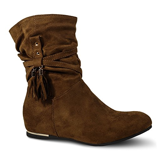 Damen Stiefel Stiefeletten Keilabsatz Boots Wedge Nieten Glitzer ST813 Camel