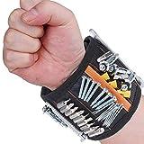 kekai magnetische armband, 15 starke magnete werkzeuggürtel mit schrauben, nägel, bohren bits und kleinwerkzeug, geschenke für männer, frauen, handwerker, heimwerker mit zwei taschen