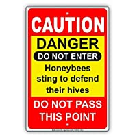 """St574ony Metal Sign 12""""X18"""" Caution Danger Do Not Enter Honeybees S g To Defend Their Hives Do Not Pass This Point Red Black Yellow Notice Prompt slogan Sign Plate"""