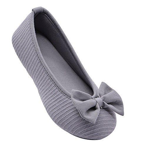 Wishcotton Women's Comfortable Memory Foam Ballerina Slippers Breathable Cotton House Indoor Shoes