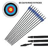 10pcs 29 'Flèches de tir à l'arc en fibre de verre et visages cibles 10Pcs 60cm