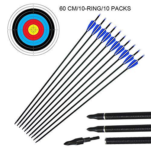 "10Pcs 29 ""Flechas de tiro con arco de fibra de vidrio y Caras de destino Set 10Pcs 60cm"
