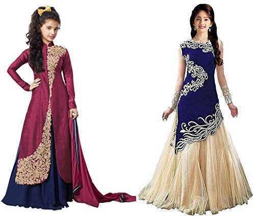 Market Magic World Girl's Maroon & Blue Banglori, Velvet Semi Stitched Combo Pack lehenga Choli, Salwar Suit, Gown (Kids Wear_Free Size_8-12 Year age)  available at amazon for Rs.799