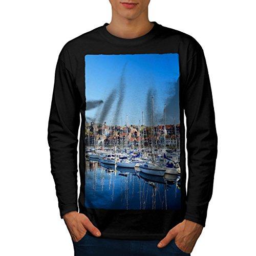 Boot Bucht Neuheit Natur Cool Yachten Herren L Langarm-T-Shirt | Wellcoda (Bucht Hawaii-shirt)