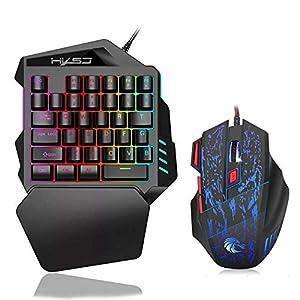 Volwco Mechanical Gaming Keyboard Einhand Gaming Tastatur 35 Schlüssel LED RGB Hintergrundbeleuchtung Schnell Responsive Mini Gaming Keypad Mit Gaming Mouse Für Xbox One / PS4 / PC/Mac