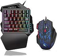 FOONEE One Handed Keyboard with Mouse, 35 Keys Mechanical Gaming Keyboard with Gaming Mouse Wired, Portable Mi