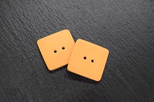2 Keramik-Designer-Knöpfe (Set) in orange 24x24mm als Zubehör zum Stricken Nähen Basteln Handarbeit -