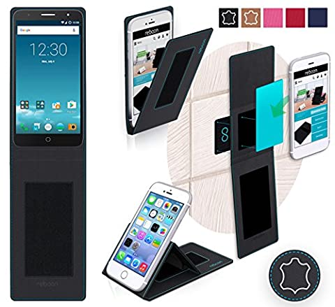 Alcatel Pop Mirage Cover in Black Leather - innovative 4 in 1 Case - Anti-Gravity Wall Mount, Car Tablet Holder, Table Stand Holder - Protective Bumper for a Car and Wall without tools or glue - for the Original Alcatel Pop Mirage from