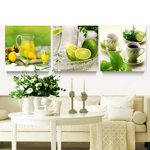 Lihhai - 3 Piezas de Cuadros de Lona de limón para decoración de Cocina, Sala de Estar