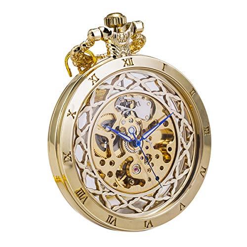 Herren Antik Automatik Mechanische Gold Taschenuhr offenes Gesicht Transparent SIBOSUN Römische Ziffern mit Kette + Geschenk cadeau