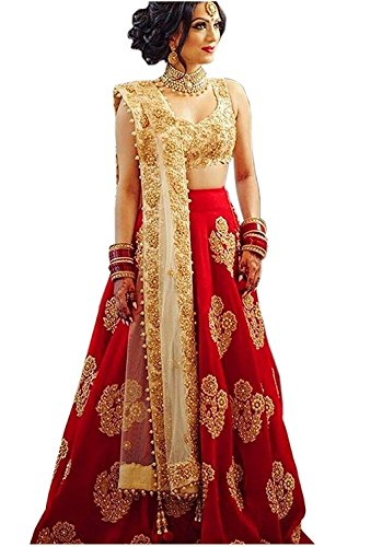 Maa Khodiyar Creation Women\'s Crepe Semi-Stitched Embroidered Lehenga Choli, (L-016, Red, Free Size)