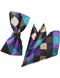 JUNGEN Pajaritas y pañuelo para Hombre Pajarita con Estampado Vintage  Corbata de Lazo de Seda de e142f9c7e0f6