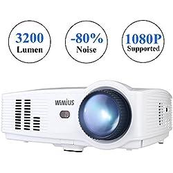 Proyector Full HD, Proyectores LED 3200 Lúmenes 1080P Proyector Video Portátil WiMiUS T4 Projector LCD Home Cinema Apoyo 1920*1080 HDMI VGA USB SD para PC Portátil TV Juego Hogar PS3 XBO X360-Blanco