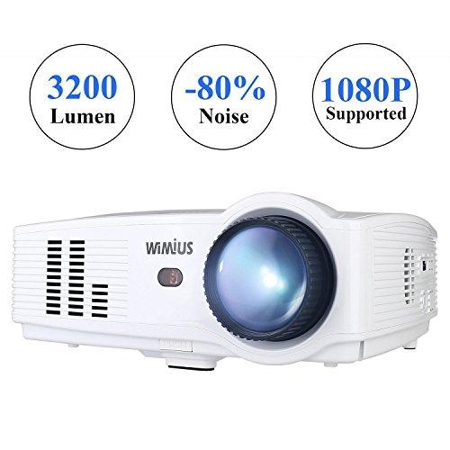 Wimius Modelo T4 (Blanco) - Proyector Full HD, Proyector LED 3200 Lúmenes 1080P, Proyector Vídeo Portátil, Projector LCD Home Cinema