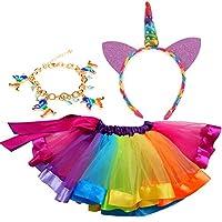 NIGHT-GRING Rainbow Costume Set, 3 In 1 Girl Costume Set - Rainbow Tutu, Ball Carnival Christmas Unicorn Headband (M (3-5 Years Old))