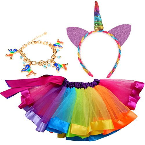 et, 3 in 1 Mädchen Prinzessin Kostüm Set - Regenbogen Ballet Tutu, Weihnachten Einhorn Haarreif für Tanz Party Karneval (L(6-8 jahre alt)) (Regenbogen-tutu Halloween Kostüm)