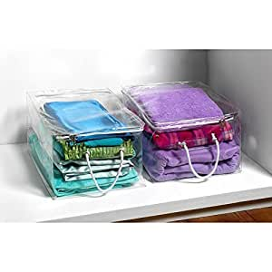 Set Of 2 New Clear Zip Closure Storage Chests