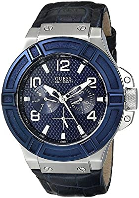 Guess Reloj con Correa de Piel W0040G7