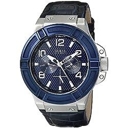 Guess W0040G7 - Reloj con correa de piel para hombre, color negro/azul