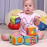 Enlarge toy image: Hrph 6 in 1 Set Infant Baby Cloth Soft Rattle Building Blocks Educational Toys Baby Toy Soft Blocks Set Cube Cloth