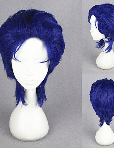 BBDM Bleu animé synthétique cosplay perruque bizarre de 14inch courte jojo aventure jonathan