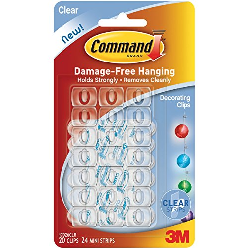 Command Plastic Decor Clip(Clear,20 Hooks and 24 Strips)
