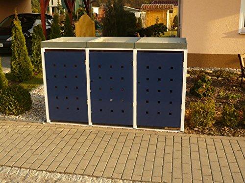 Metall Mülltonnenbox für 3 Tonnen, Müllcontainer, Müllbox. Made in Germany. # Größe: Für 3 Tonnen bis 240 l # Farbe: Farbenauswahl per EMail angeben # Dach: Mit Pflanzwanne # Stanzung: ST 3/5 - 2